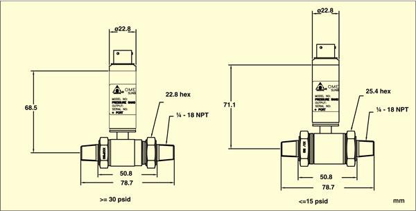 PX409-WDDIF Dimensions