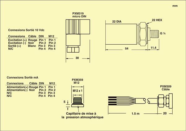 PXM309 connexions sortie