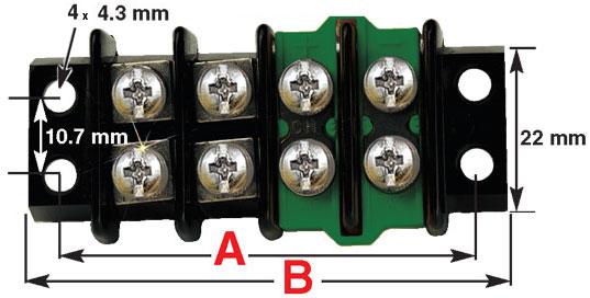 Thermocouple terminal strip dimensions
